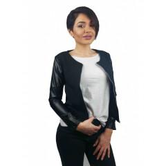 Jacheta neagra cu maneci din imitatie de piele