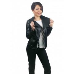 Jacheta din imitatie piele, cu revere indoite