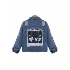 Jacheta din denim cu imprimeu pe spate