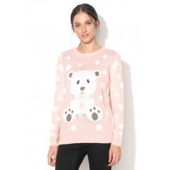 Pulover roz pal cu design urs polar