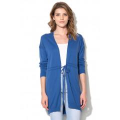 Cardigan albastru safir cu cordon