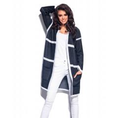 Cardigan tricotat cu dungi albe