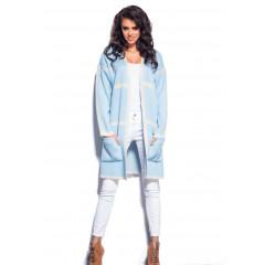 Cardigane tricotat bleu cu dungi bej