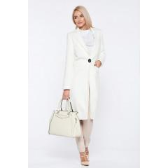Palton alb din stofa cu buzunare