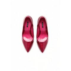 Pantofi stiletto cu toc inalt cui lacuiti burgundy