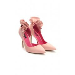 Pantofi stiletto roz pudrat cu toc cui inalt si volanase la spate din piele intoarsa ecologica