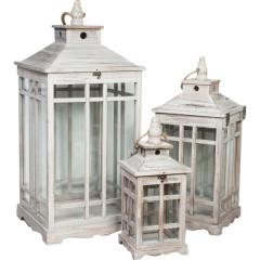 Set de felinare din lemn cu geamuri stil Shabby Chic Romantic cu patina vintage