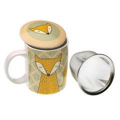 Cana cu sita pentru ceai cu capac, din ceramica, model vulpe