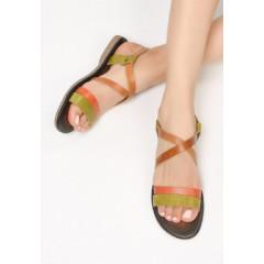 Sandale cu talpa joasa si barete din piele naturala combinatii de caramiziu cu verde