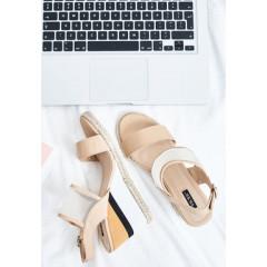 Sandale cu platforma si talpa ortopedica cu dungi in stil minimalist