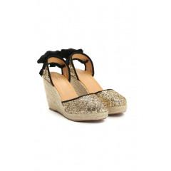 Sandale tip platforme cu talpa ortopedica si sclipici auriu, cu barete din panglica catifelata neagra