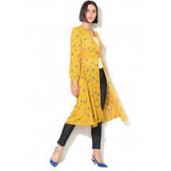 Kimono subtire de vara tip caftan cardigan New Look galben cu imprimeu floral cu flori bleu