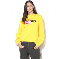 Hanorac tip sweater sport galben cu logo Diesel fara gluga