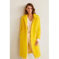Palton galben pentru femei cu amestec de lana Mango