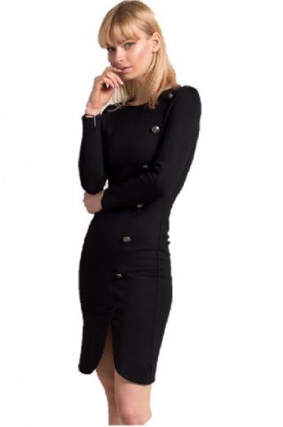 Rochie office neagra mulata tip trenci cu nasturi decorativi