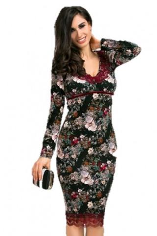 Rochie din catifea cu imprimeu floral in marimi mari