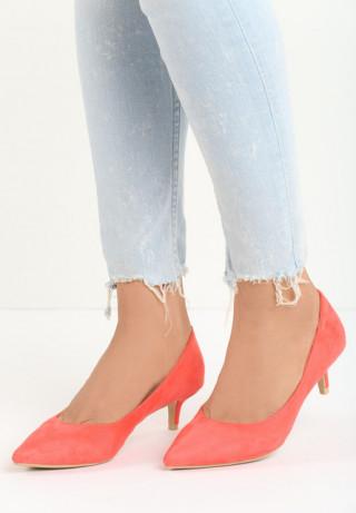 Pantofi cu toc mic kitten din piele intoarsa ecologica de culoare roz corai
