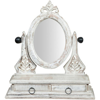 Oglinda de toaleta cu 2 sertare stil Romantic Shabby Chic din lemn vopsit alb cu patina vintage
