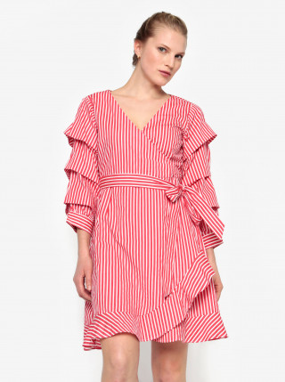 Rochie rosie in dungi cu volane la maneci si cordon in talie