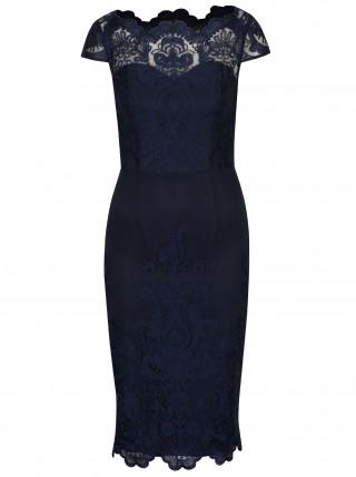 Rochie de seara conica bleumarin cu dantela