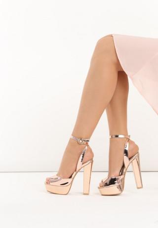 Sandale cu aspect metalic roz auriu si toc inalt gros cu platforma