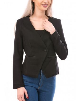 Sacou negru simplu de dama usor asimetric, cu maneci lungi